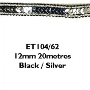 12mm Essential Trimmings Sequin Metallic Edged Trimming Black/Silver - per metre