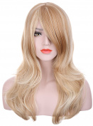 Hxhome Womens Long wavy 2 Tones Blonde mix skin top Curly Wig Hair
