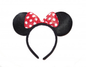 **NEW** BEAUTIFUL BLACK AND RED POLKA DOTS SPARKLE MINNIE MOUSE EARS - FANCY DRESS HEADBAND