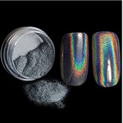Honearn Nail Powder,Holographic Fashion Trend Laser Rainbow Unicorn Powder Chrome Pigment Manicure Silver Shimmer Nail Art + Smooth Application Brush