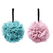 G2PLUS 2-Pack Bath Puff Soft Bath Lily Extra-Dense Shower Ball Loofah Sponge Body Exfoliate Pouffe