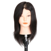 Mannequin Head 100% Real Human Hair for Cosmetology Training with Free Clamp Holder 41cm