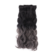 MIMAN 50cm 8Pcs #1B/Dark Grey Natural Black To Dark Grey Full Head Wavy Clip In Hair Extensions Synthetic Fibre HairPiece