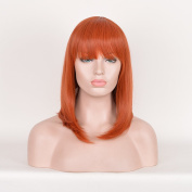 SiYi Orange Straight Lob Wig with Bangs Shoulder Length Cosplay Wig for Women