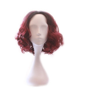 sunshine Susie wigs for Women Short Wavy Synthetic Red Ombre Wig Black Root with Free Cap