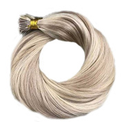 LaaVoo 36cm Ash Brown Mixed Blonde 18/613# Remy Stick Tip Hair Extensions Brazilian Human Hair I tip Extensions 50gram