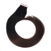 LaaVoo 46cm Natural Hair Extensions Colour #1b/4 Natural Black to Dark Brown Ombre Tape Hair Extensions 20pc 50g/pack