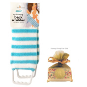 Exfoliating Back Scrubber Nylon Beauty Skin Bath Cloth Towel with Handles Blue with HONEY Soap Bar for Women and Men