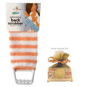 Exfoliating Back Scrubber Nylon Beauty Skin Bath Cloth Towel with Handles Orange with HONEY Soap Bar for Women and Men