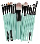 KiraShan - 15pc Makeup Brush Starter Set Eye Shadow Foundation Eyebrow Lip Powder Cosmetic Brushes