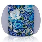 Lucia Blue Flower Print Medium Hair Clip Clamp