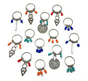 Hyamass 14pcs Antique Silver Coin Colourful Beads Charms Pendant Rings Set Hair Clip Headband Hair Accessories