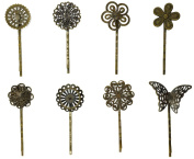 Hyamass 8pcs Mix Style Vintage Hollow Out Bronze Flower Butterfly Barrettes Edge Clip Bobby Pin Hair Clips Bride Headwear Clamps