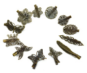 Hyamass 12pcs Mix Style Vintage Butterfly Leaf Flower Feather Shape Alligator Clip Hair Clip Hairpins Barrettes Headwear Edge Clamps for Lady Girl