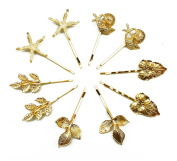 Hyamass 10pcs Gold Athena Olive Branch Leaves Starfish Conch Shell Barrettes Bobby Pin Hair Clips Bride Headwear Edge Clip Clamps