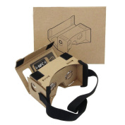 Google Cardboard,Virtual Real Store 3D VR Headset Virtual Reality Glasses Box with Big Clear 3D Optical Lens and Comfortable Head Strap Nose Pad for All 3-15cm Smartphones
