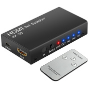 LiNKFOR 4K 3 Ports HDMI Switcher HDMI Switch 3 Input 1 Output 2160P 3D HDMI Splitter Box with IR Remote Control for PS3 Xbox 360 Sky Box Freesat Virgin Bluray Player DVD HDTV Projector Camcorder HTPC Laptop