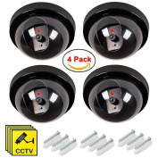 Maxesla 4 Pack Dummy Fake Security CCTV Dome Camera Indoor Outdoor Fake Security Camera with Flashing LEDs Light Wireless Decoy Realistic Look Surveillance System Free Warning Security Alert Sticker Decals