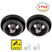 Maxesla 2 Pack Dummy Fake Security CCTV Dome Camera Indoor Outdoor Fake Security Camera with Flashing LEDs Light Wireless Decoy Realistic Look Surveillance System Free Warning Security Alert Sticker Decals