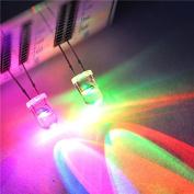 50pcs 2 pins 3mm Water Clear Fast Flash RGB LED Rainbow MultiColor Flashing