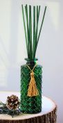 Manu Home Forest Green - Includes Glass and two sets of sticks. Green and Natural