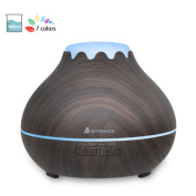 AMZtronics 400ml Essential Oil Diffuser, Wood Grain Ultrasonic Aroma Cool Mist Humidifier with 7 Colour LED Lights & Auto Shut-off for Home Bedroom Baby Room Office