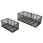 Black Steel Mesh Peg Board Basket