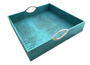 Red Pomegranate 117S-6 Square Patterned Serveware Crock Tray, Turquoise