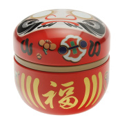 "1 Pc Japanese Red Daruma ""Wishes"" 100g Tea Canister #499-555"