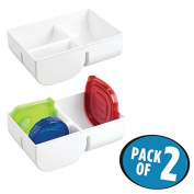 mDesign Food Storage Lid Organiser for Kitchen Cabinet, Pantry - Pack of 2, White