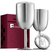 FineDine 350ml Double-Walled Insulated 18/8 Stainless Steel Unbreakable Wine Glasses (Set of 2) Stemmed Wine Glass with BPA-Free Leak Resistant Lid for Red and White Wines, Brushed Metal