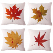 BPFY Cotton Linen Leaves,Maple Leaf Cushion Covers 46cm x 46cm Sofa Fall Home Decor Throw Pillow Case Pillow Covers Set of 4