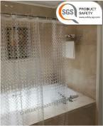 Clear Shower Curtains ABC life SGS Certified 100% Safety EVA Material Mildew & Water Resistant No Chemical Odour Non Toxic With Hooks