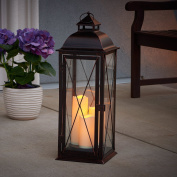 Smart Living Salerno 70cm Triple LED Candle Lantern, Battery Powered By Three Integrated LEDs, Suitable For Both Indoor And Outdoor Use, 80073