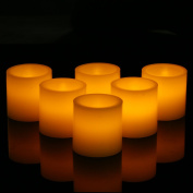 Flameless Candles, Flickering, Battery Powered, Real Wax- 6pcs, Realistic Decor, Ivory Colour Yellow Light - Da by