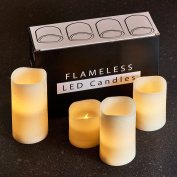 Hayley Cherie - Textured Real Wax Flameless Candles with Timer (Set of 4) - LED Candles 7.6cm , 10cm , 13cm , 15cm tall - Flickering Amber Flame - Battery Operated Pillar Candles – Unscented