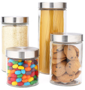 EatNeat 4-Piece Glass Airtight Canister Set with Stainless Steel Lids- 72/ 55/ 38/ 800ml