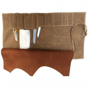 Waxed Canvas(10 Pockets) Waterproof Chef's Knife Roll Up Storage Bag, All Purpose Knife Roll/Small Tool Roll Handmade