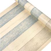 HOYOYO 43cm x 200cm Self-Adhesive Shelf Liner, PVC Moisture Proof Drawer Paper Shelf Liner Mildew Proof Antifouling Contact Paper, Retro Three-tone Wood Grain