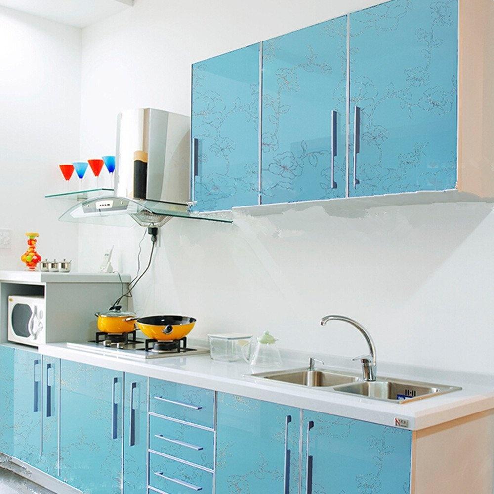 YIZUN Self Adhesive PVC Laser Peony Shelf Liner Kitchen Contact ...