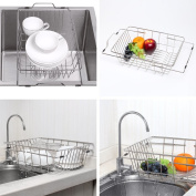 NEX Dish Drainer Rack Stainless Steel Dish Basket Adjustable Over the Sink Rustproof Storage Utensil for Kitchen