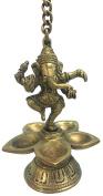 Vrinda Brass Lamp Dancing Ganesha 14cm hangable