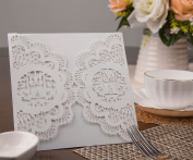 20pcs Wedding Bridal Shower Invitation Cards DIY Love Bird Floral Lace Blank Party Invitation Template Cover for Engagement kids Birthday Baptism Christmas Christening Anniversary