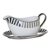 Ciroa Stripes Platinum Gravy Boat & Saucer