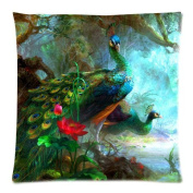 Peacock Art Cushion Case - Square Pillowcase Cushion Case Throw Pillow Cover with Invisible Zipper Closure - 46cm x 46cm , One-sided Print