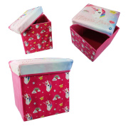 Unicorn Ottoman Girls Storage Toy Box Cushion Stool Chair Bedroom Playroom Pink