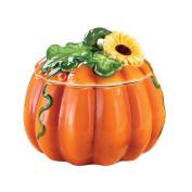 Harvest Pumpkin and Sunflower Cookie Jar Hand Painted