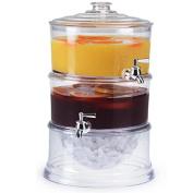 Fixture Displays 2PK Dispenser, Acrylic Beverage Dual w/Ice Comp. Countertop, Hospitality, Hotel 13034-2PK