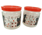 Cute Cat Glass Jar Bottle With Lid Cover Storage Container 410ml Clear Red Black Polka Dots