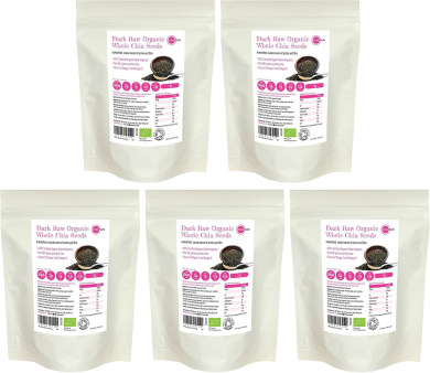 PINK SUN Raw Organic Chia Seeds 1kg x 5 Gluten Free for Breadmaking and Thickening Chia Gel Suitable for Vegan and Vegetarian Diets - Certified Organic by the Soil Association - Bulk Buy Pure Whole Food 5kg Non GM